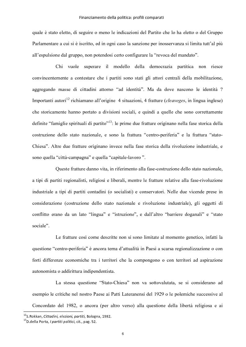 Anteprima della tesi: Finanziamento della politica : profili comparati, Pagina 7