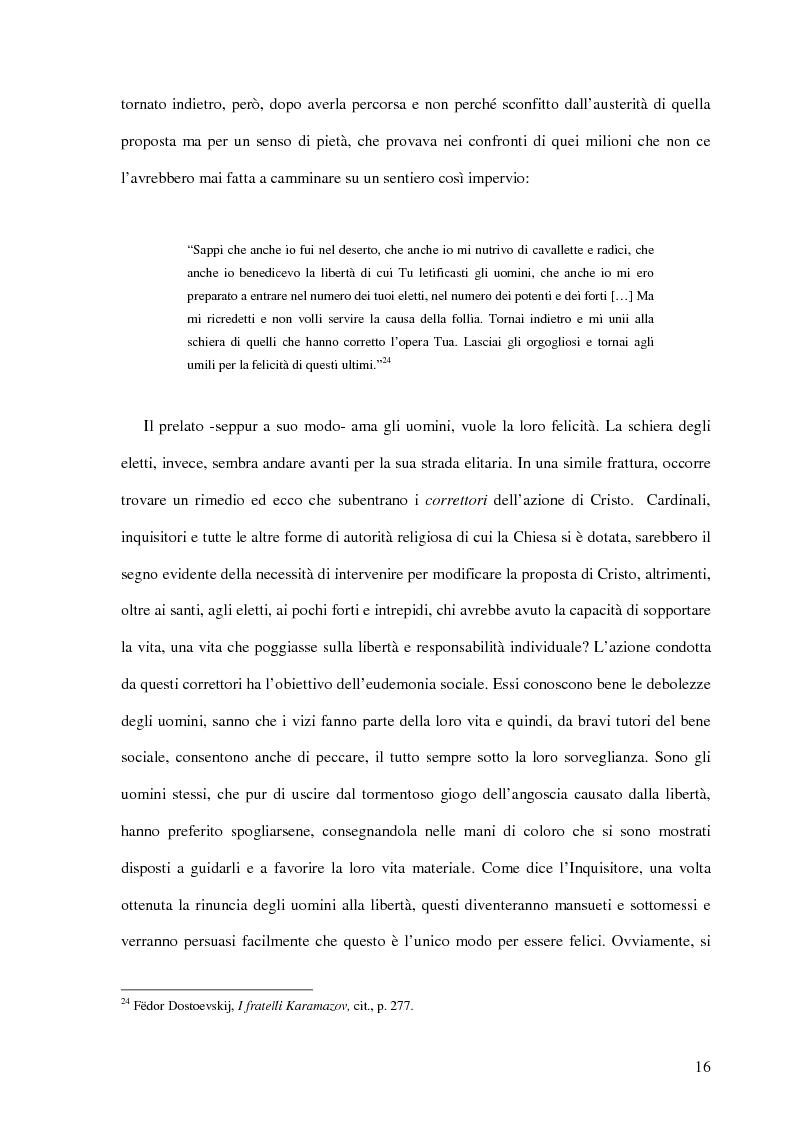 Estratto dalla tesi: La Leggenda del Grande Inquisitore e la questione ontologica della libertà