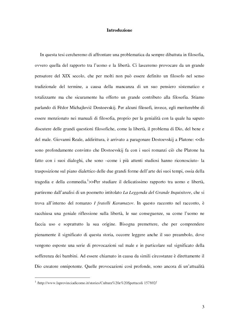 Anteprima della tesi: La Leggenda del Grande Inquisitore e la questione ontologica della libertà, Pagina 2