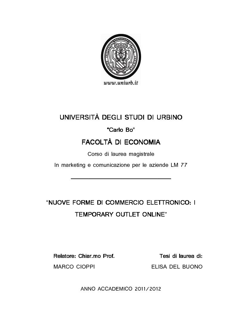 Anteprima della tesi: Nuove forme di commercio elettronico: i temporary outlet online, Pagina 1