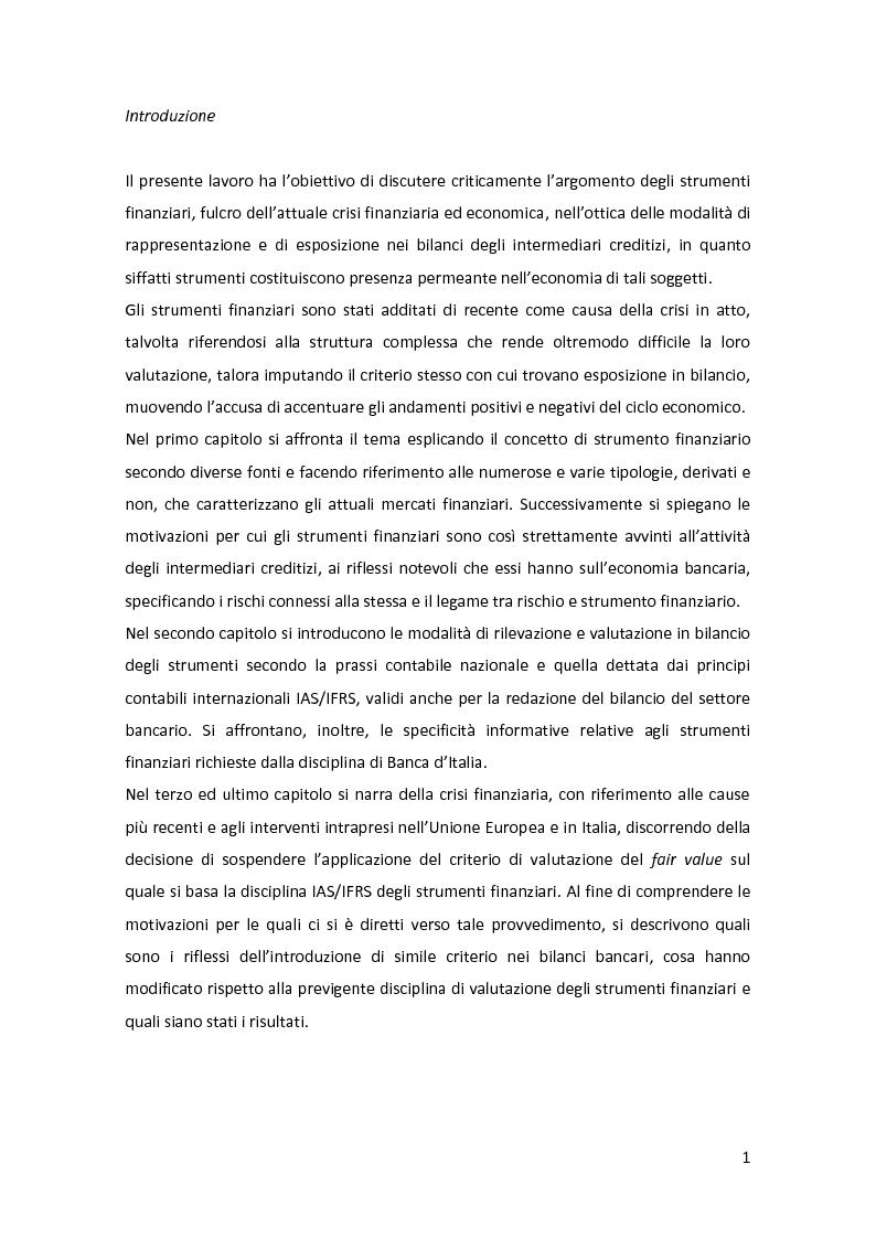 Anteprima della tesi: Gli strumenti finanziari nel bilancio bancario: principali tipologie e trattamento contabile, Pagina 2