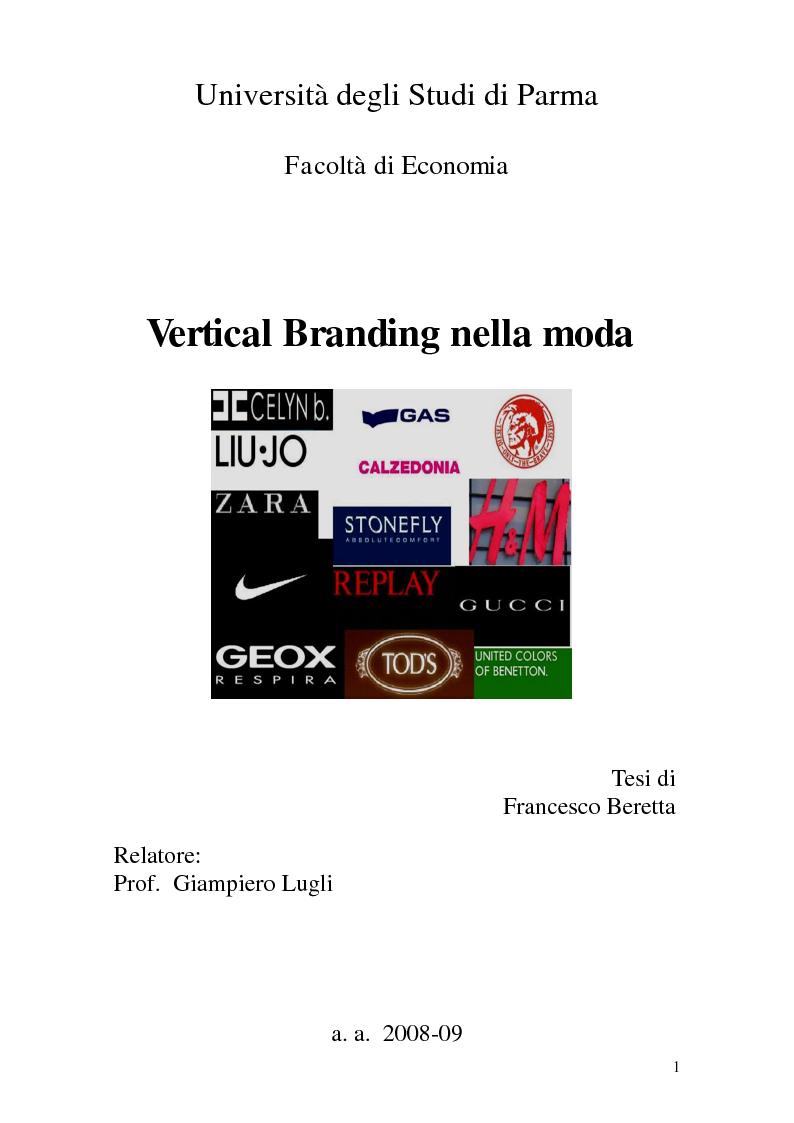 Anteprima della tesi: Vertical Branding nella moda, Pagina 1