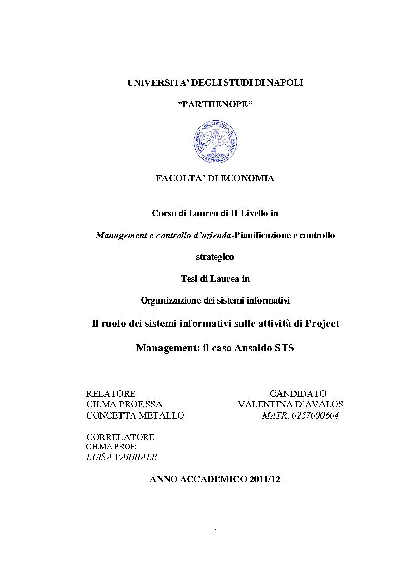 Anteprima della tesi: Il ruolo dei sistemi informativi sulle attività di project management: il caso Ansaldo sts, Pagina 1