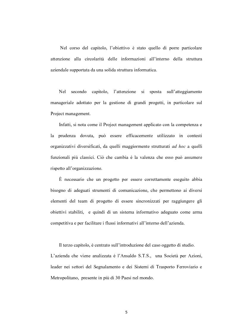 Anteprima della tesi: Il ruolo dei sistemi informativi sulle attività di project management: il caso Ansaldo sts, Pagina 3