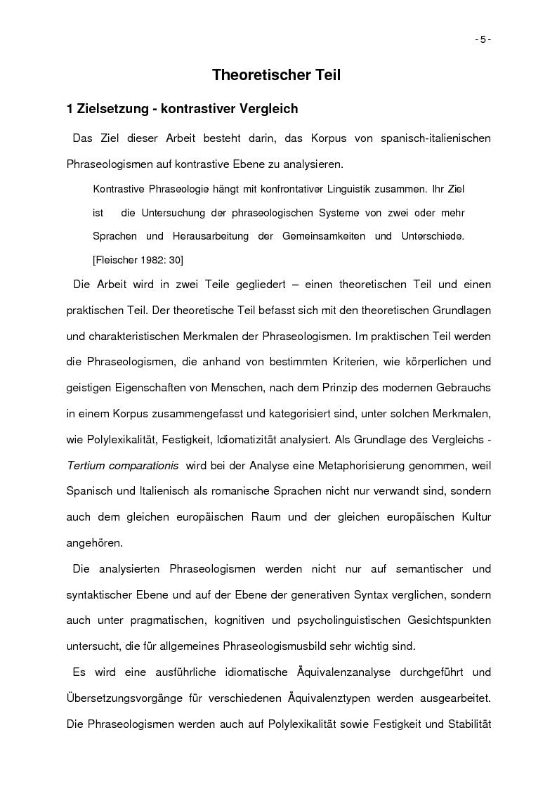 Anteprima della tesi: Korpusbasierte kontrastive Analyse von spanischen und italienischen Phraseologismen, Pagina 2