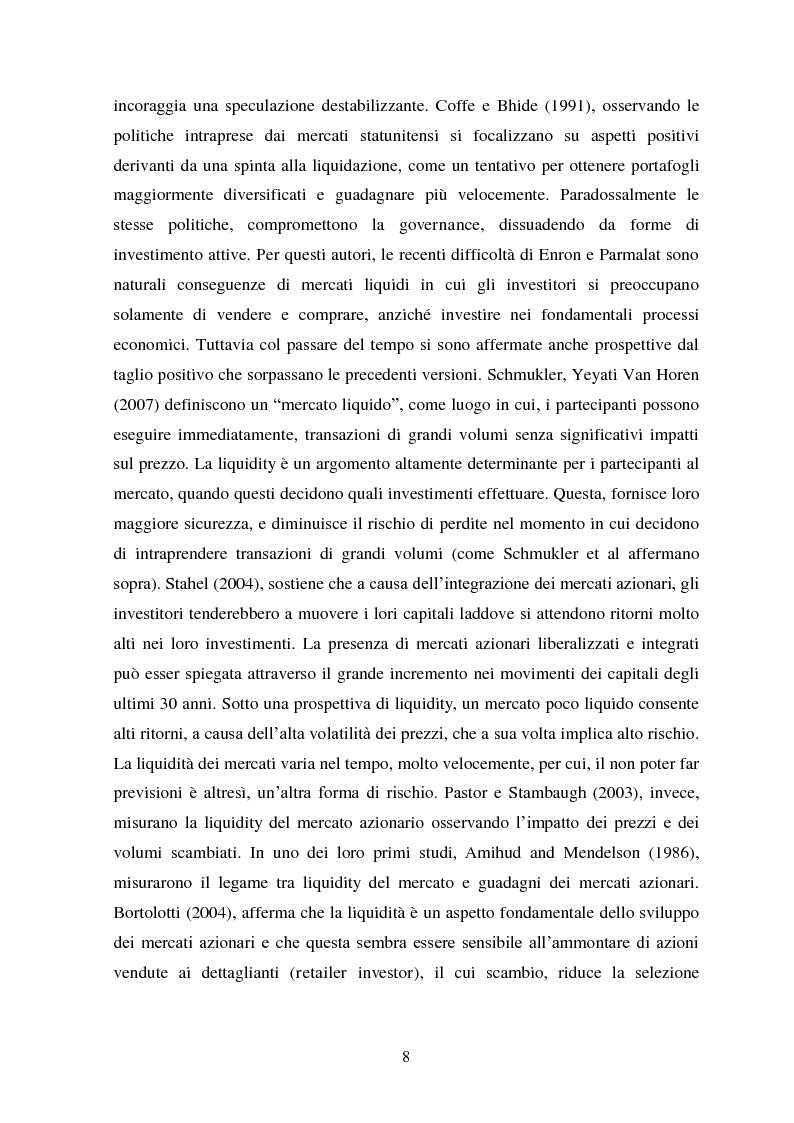 Anteprima della tesi: Liquidity e Valore: un'Analisi Empirica in Italia, Pagina 7
