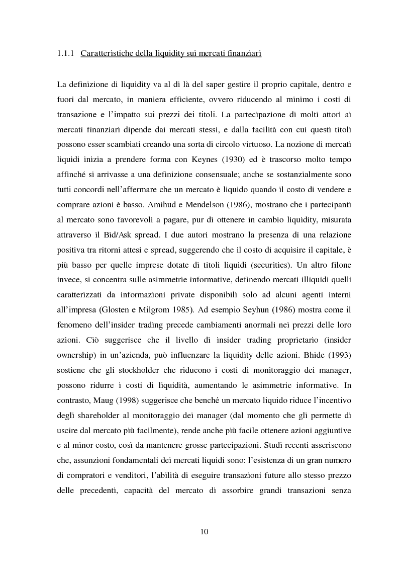 Anteprima della tesi: Liquidity e Valore: un'Analisi Empirica in Italia, Pagina 9