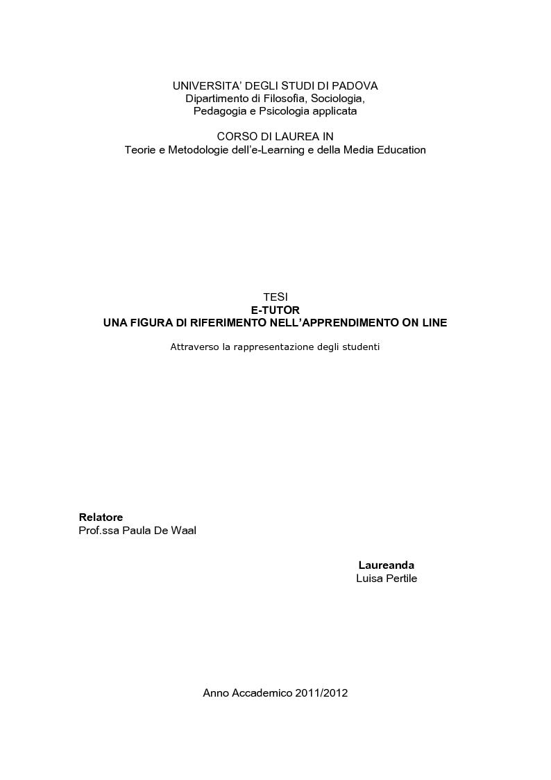 Anteprima della tesi: E-Tutor:una figura di riferimento nell'apprendimento online - attraverso la rappresentazione degli studenti, Pagina 1