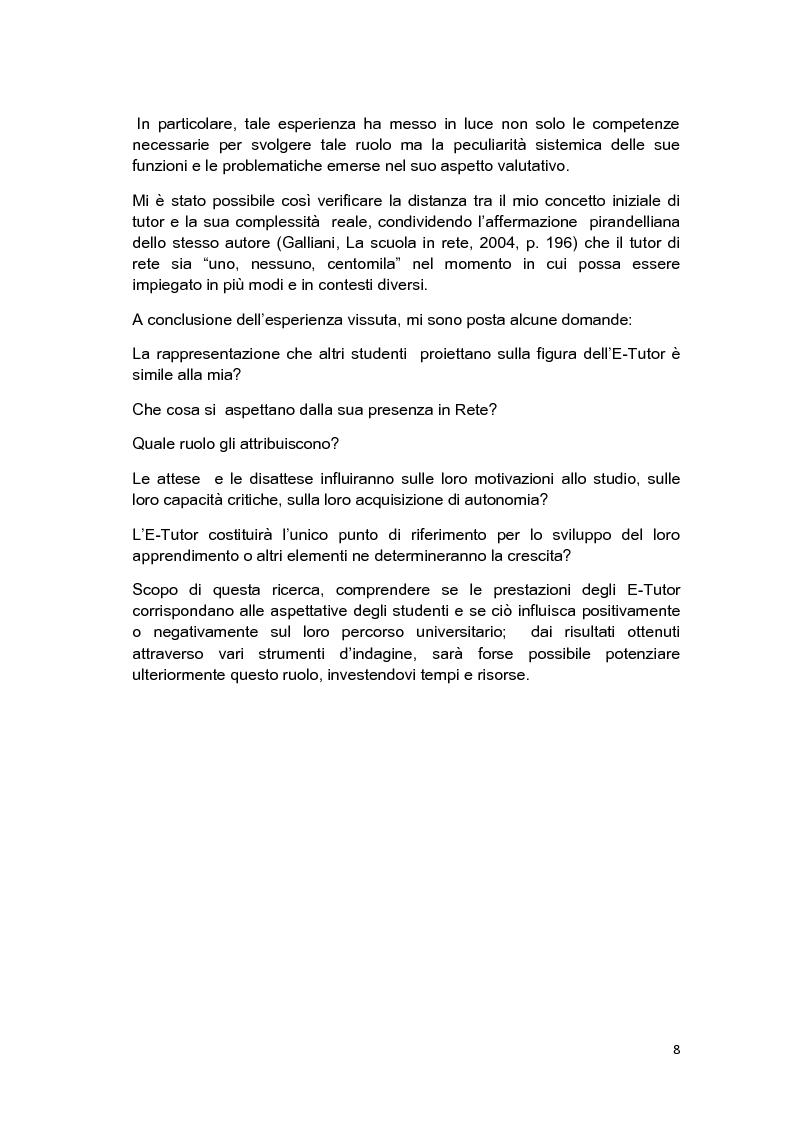 Anteprima della tesi: E-Tutor:una figura di riferimento nell'apprendimento online - attraverso la rappresentazione degli studenti, Pagina 4