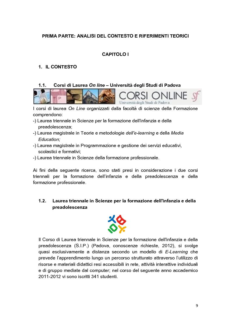Anteprima della tesi: E-Tutor:una figura di riferimento nell'apprendimento online - attraverso la rappresentazione degli studenti, Pagina 5