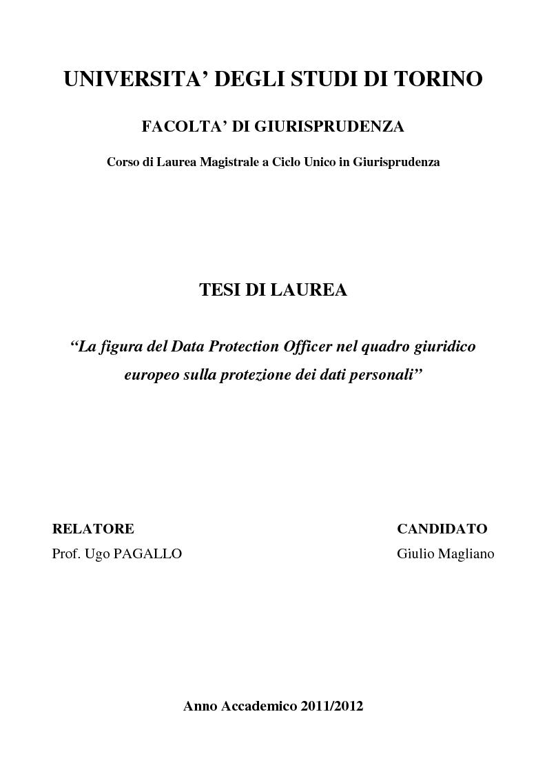 Anteprima della tesi: La figura del Data Protection Officer nel quadro giuridico europeo sulla protezione dei dati personali, Pagina 1