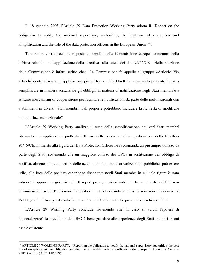 Anteprima della tesi: La figura del Data Protection Officer nel quadro giuridico europeo sulla protezione dei dati personali, Pagina 10