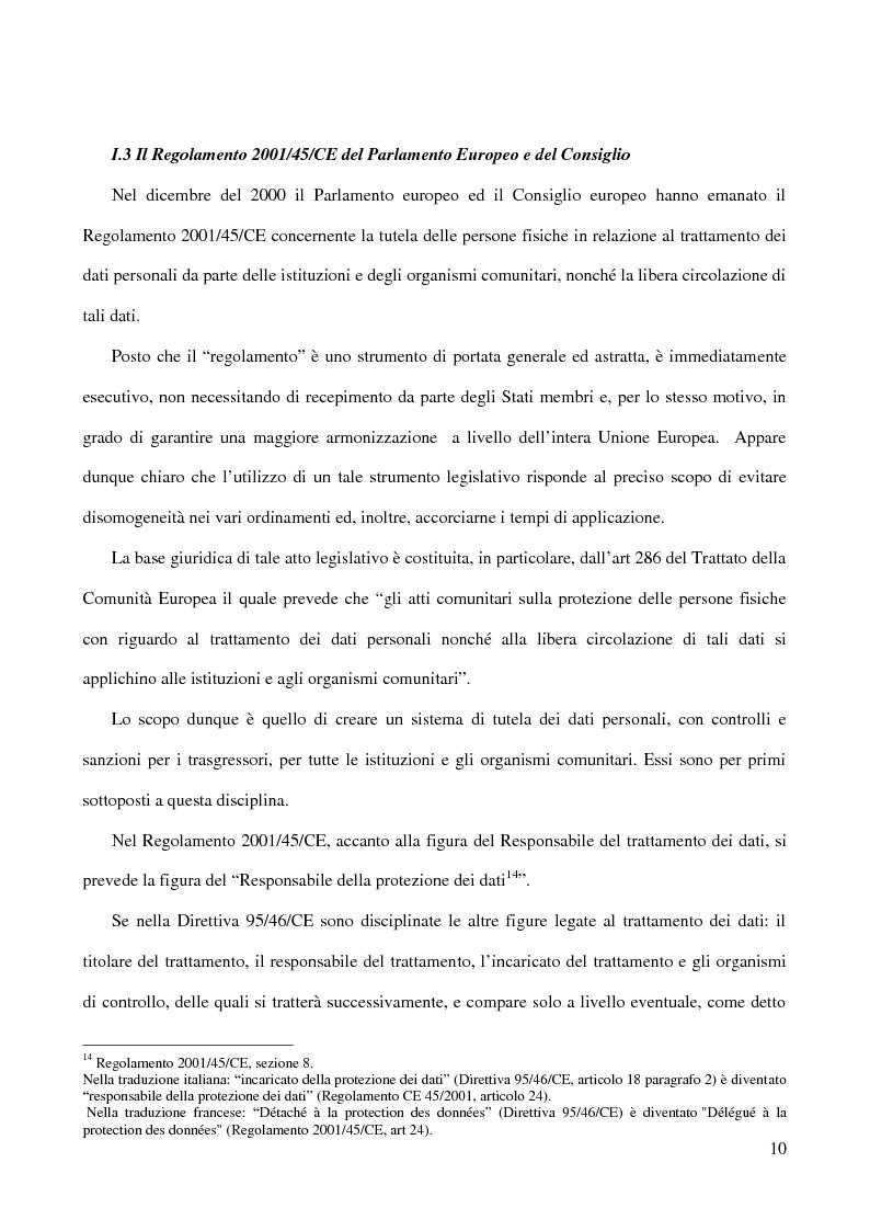 Anteprima della tesi: La figura del Data Protection Officer nel quadro giuridico europeo sulla protezione dei dati personali, Pagina 11