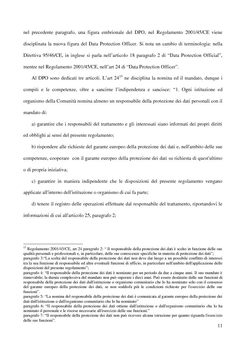 Anteprima della tesi: La figura del Data Protection Officer nel quadro giuridico europeo sulla protezione dei dati personali, Pagina 12