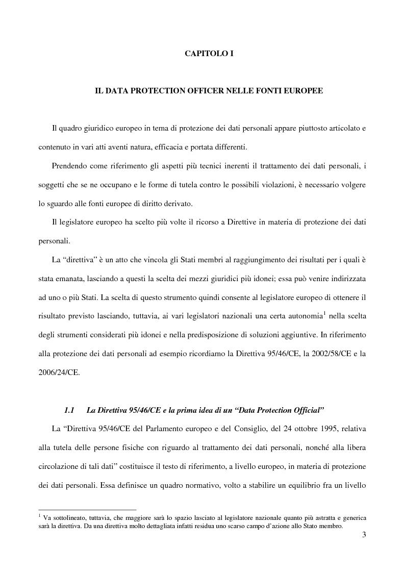 Anteprima della tesi: La figura del Data Protection Officer nel quadro giuridico europeo sulla protezione dei dati personali, Pagina 4