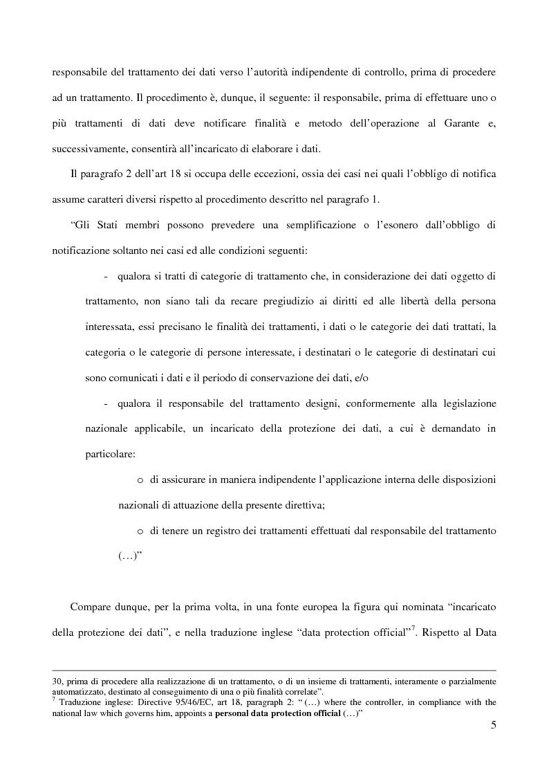Anteprima della tesi: La figura del Data Protection Officer nel quadro giuridico europeo sulla protezione dei dati personali, Pagina 6