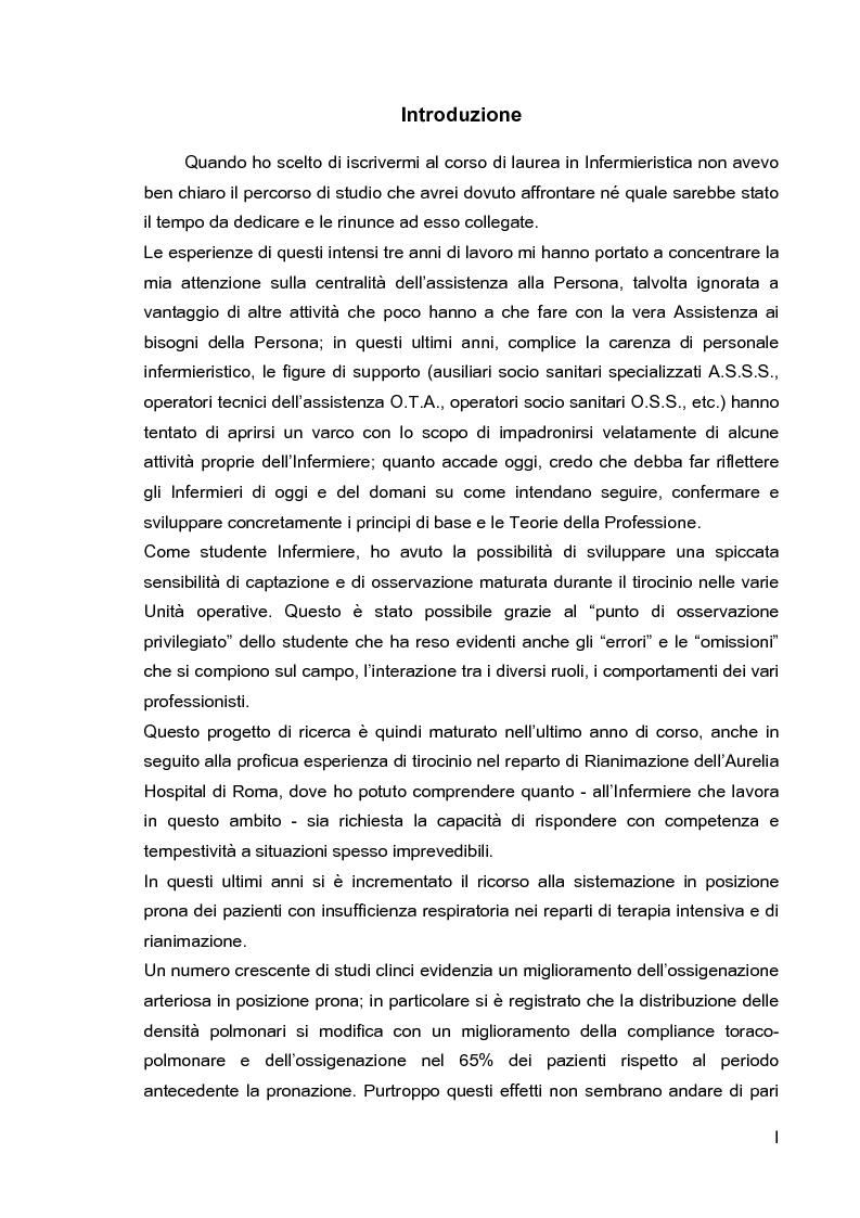 Anteprima della tesi: Problematiche di nursing nel paziente critico ventilato artificialmente in posizione prona, Pagina 2