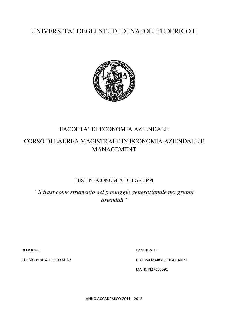 Anteprima della tesi: Il trust come strumento del passaggio generazionale nei gruppi aziendali, Pagina 1