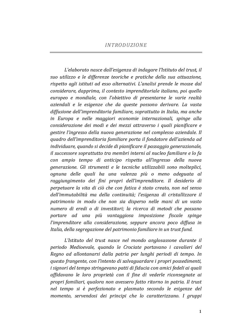 Anteprima della tesi: Il trust come strumento del passaggio generazionale nei gruppi aziendali, Pagina 2