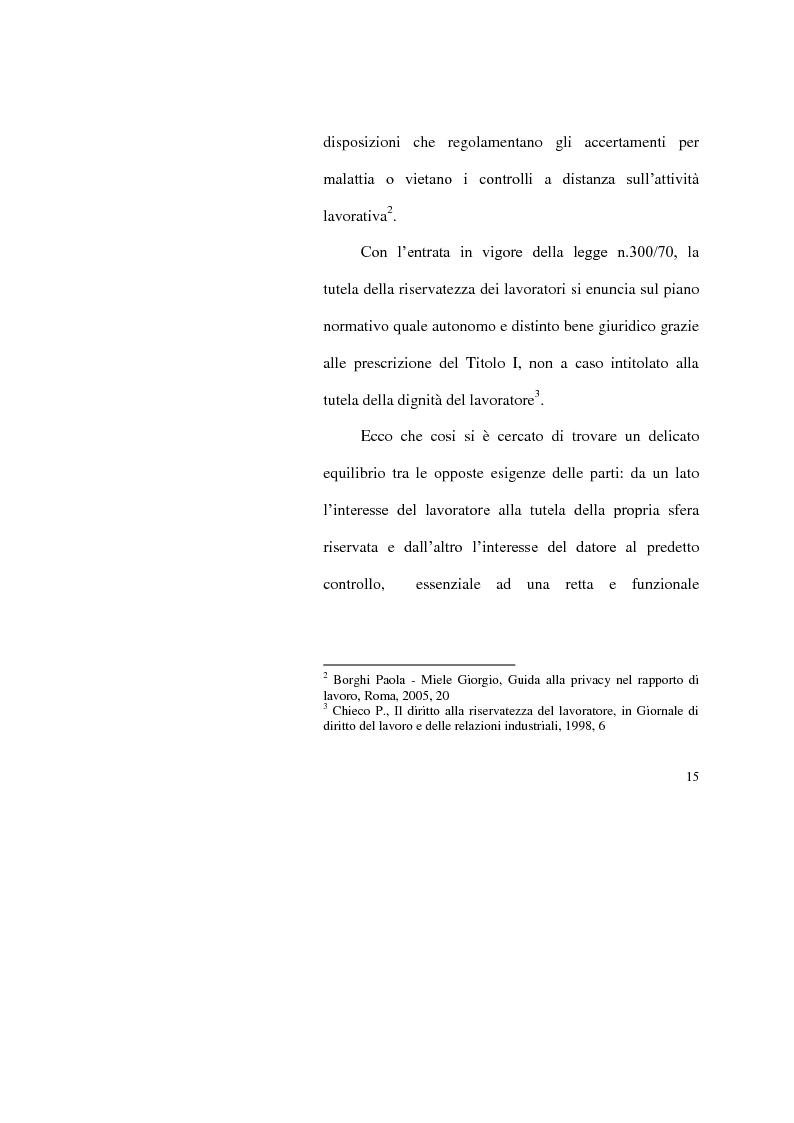 Anteprima della tesi: I limiti del potere di controllo del datore di lavoro, Pagina 10