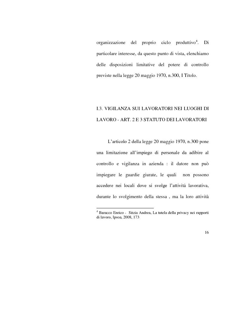 Anteprima della tesi: I limiti del potere di controllo del datore di lavoro, Pagina 11