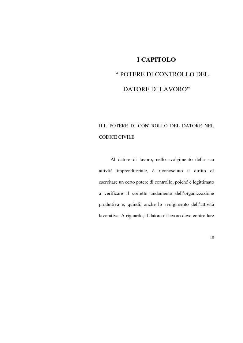 Anteprima della tesi: I limiti del potere di controllo del datore di lavoro, Pagina 5