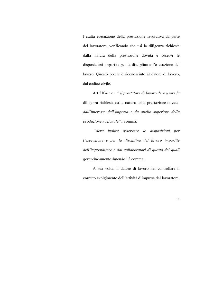 Anteprima della tesi: I limiti del potere di controllo del datore di lavoro, Pagina 6