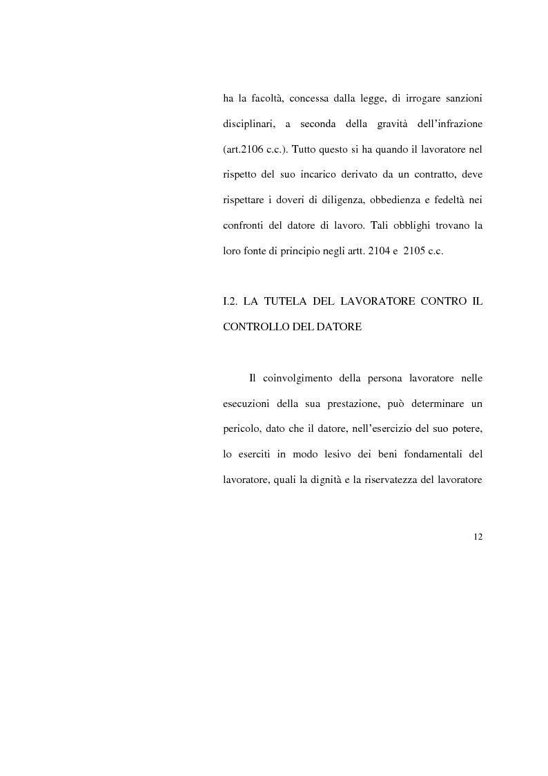 Anteprima della tesi: I limiti del potere di controllo del datore di lavoro, Pagina 7