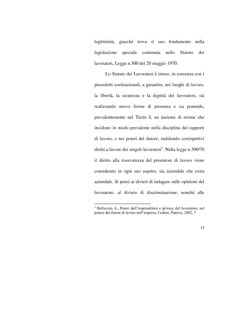 Anteprima della tesi: I limiti del potere di controllo del datore di lavoro, Pagina 9