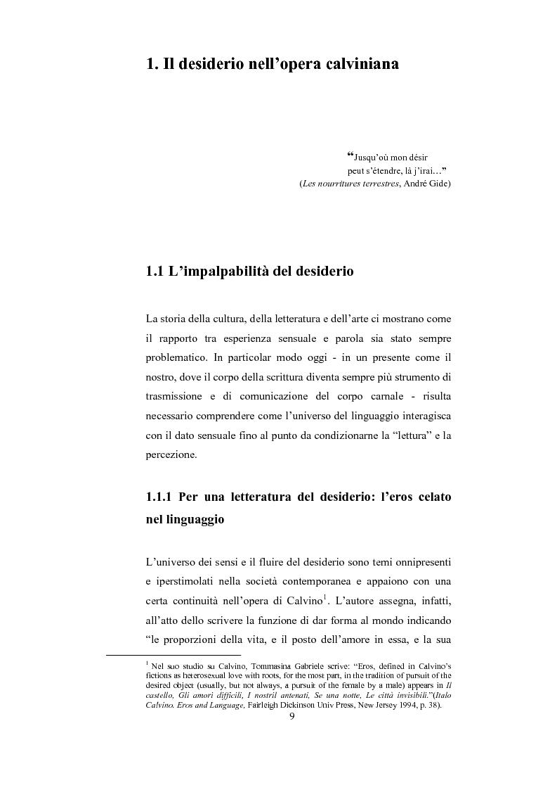 Anteprima della tesi: Scrittura (e lettura) del desiderio. Gli Incipit di ''Se una notte d'Inverno un Viaggiatore'' di Italo Calvino., Pagina 5