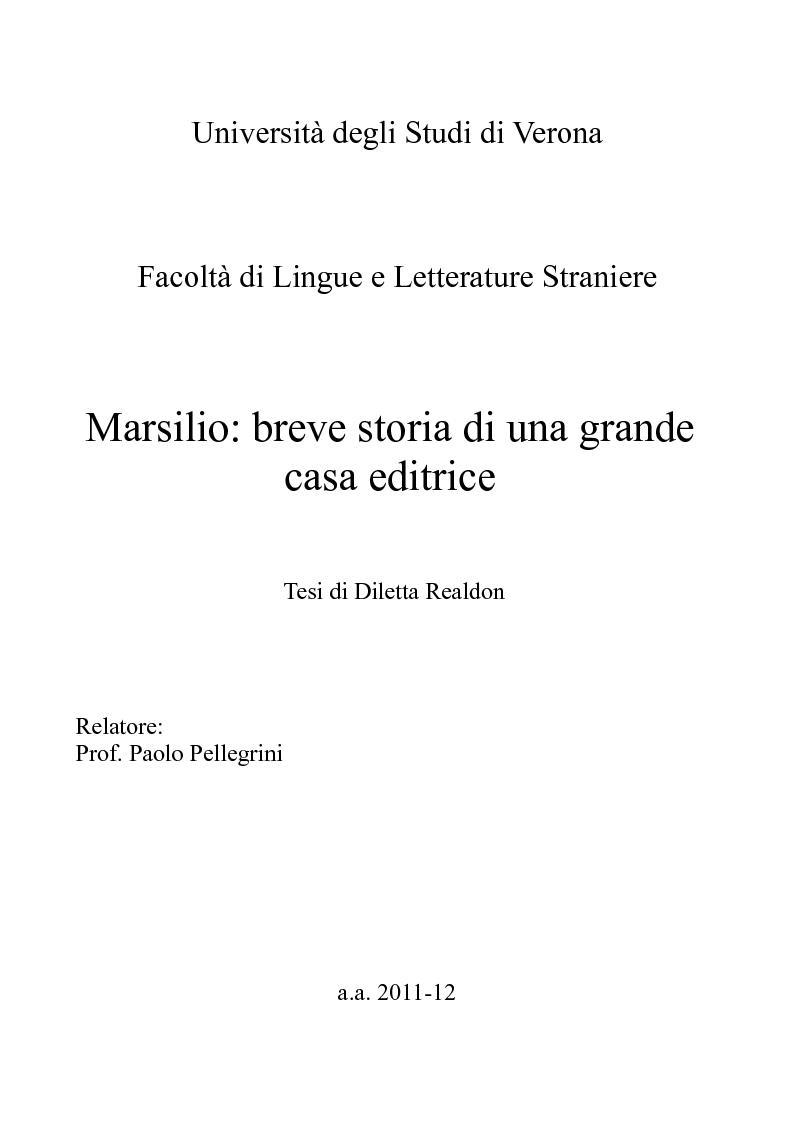 Anteprima della tesi: Marsilio: breve storia di una grande casa editrice, Pagina 1