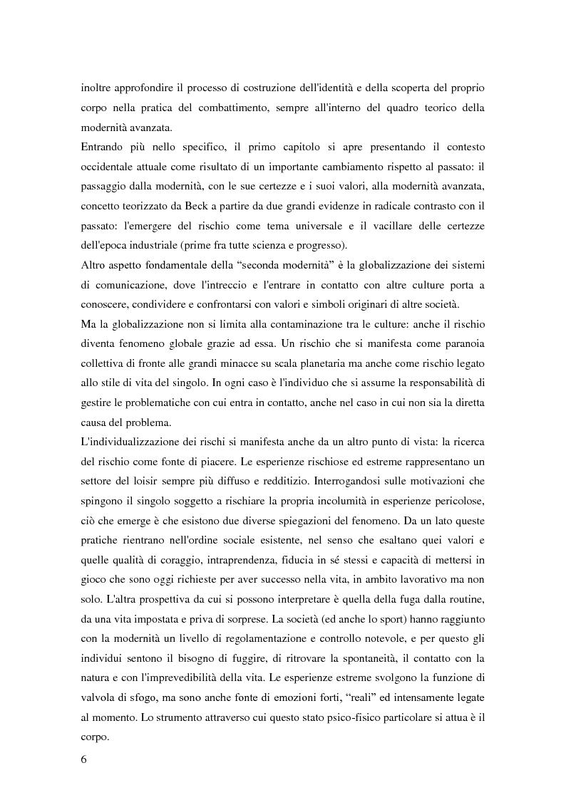 Anteprima della tesi: Gli sport da combattimento nella società contemporanea: ricerca di piacere e di significato, Pagina 4