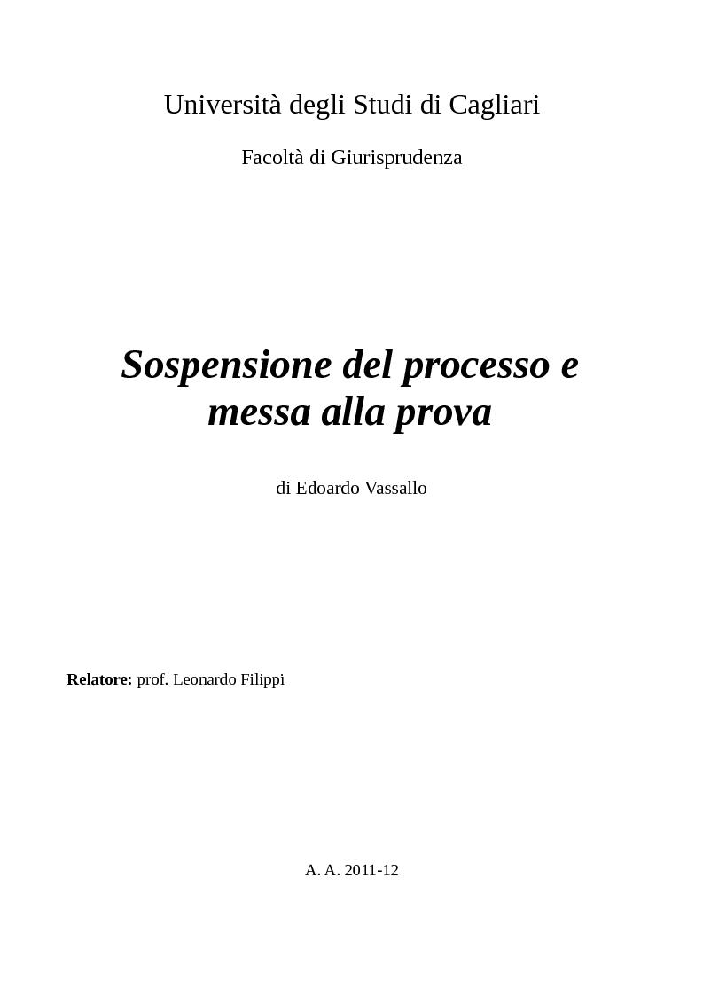 Anteprima della tesi: Sospensione del processo e messa alla prova, Pagina 1