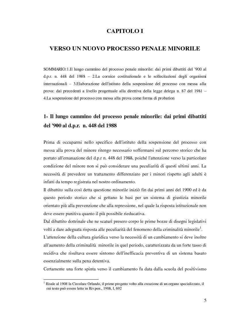 Anteprima della tesi: Sospensione del processo e messa alla prova, Pagina 3