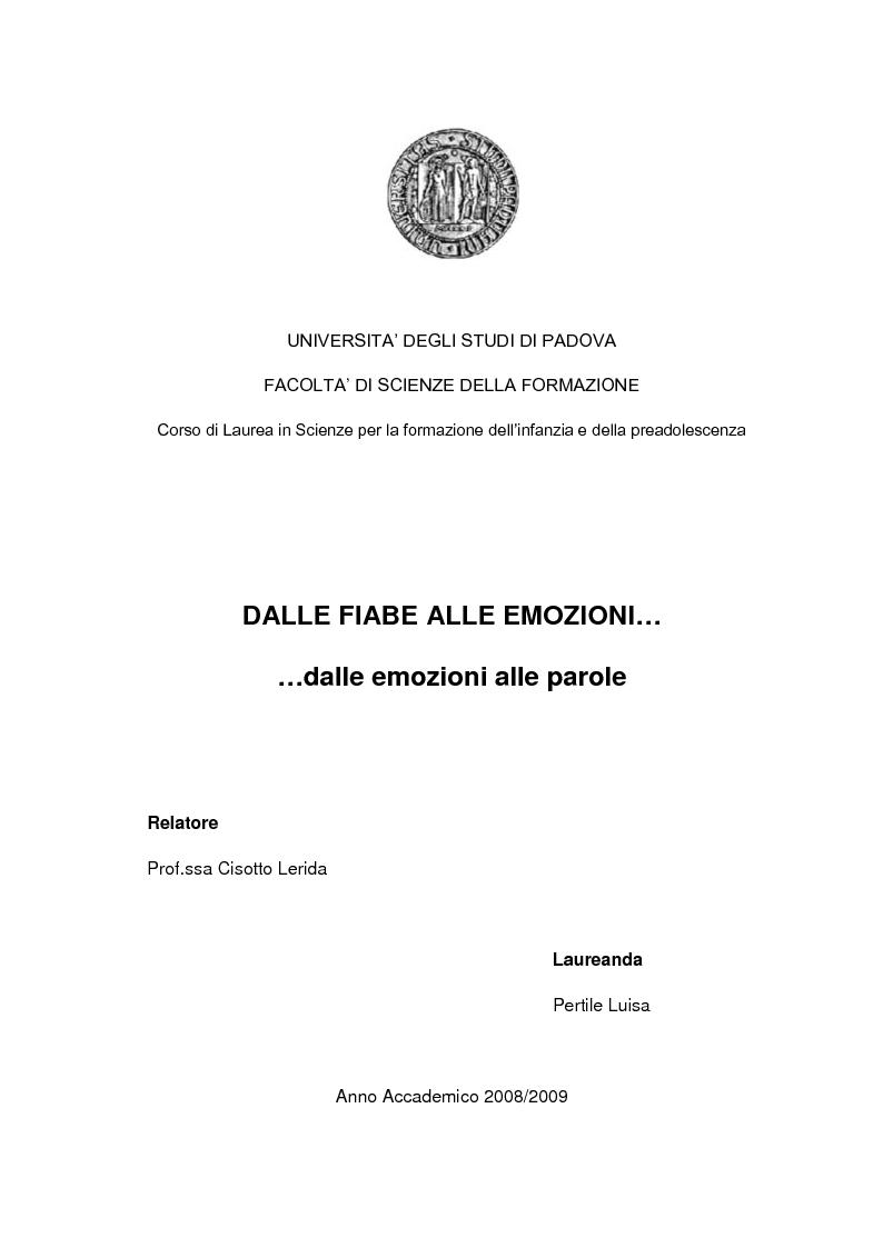 Anteprima della tesi: Dalle fiabe alle emozioni...dalle emozioni alle parole, Pagina 1