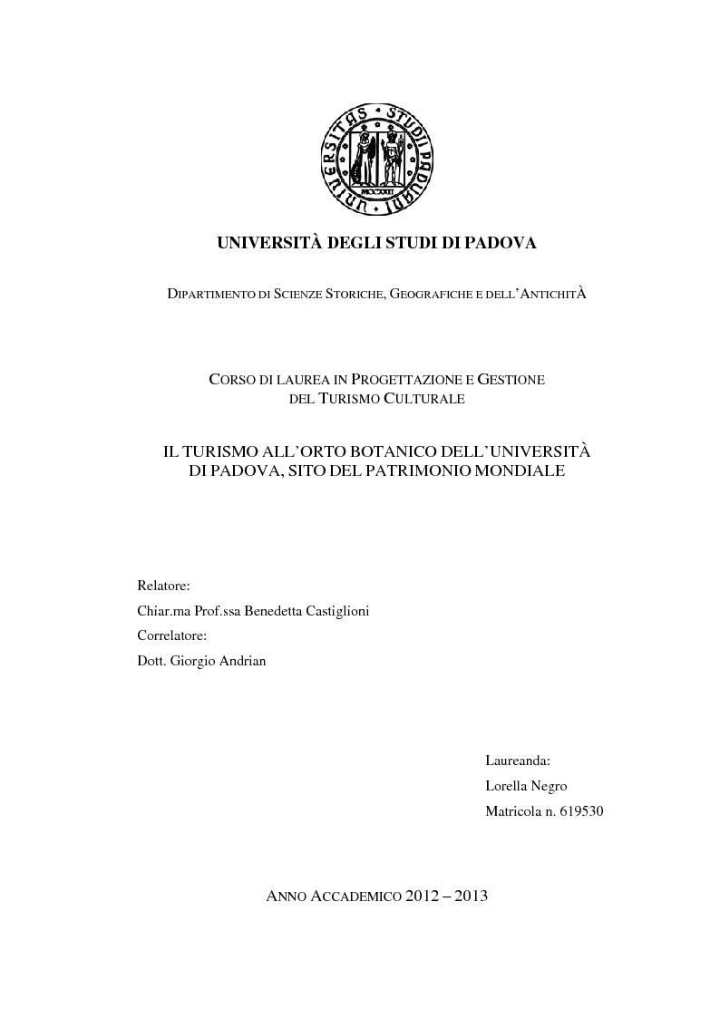 Anteprima della tesi: Il turismo all'Orto Botanico dell'Università di Padova, sito del Patrimonio Mondiale, Pagina 1