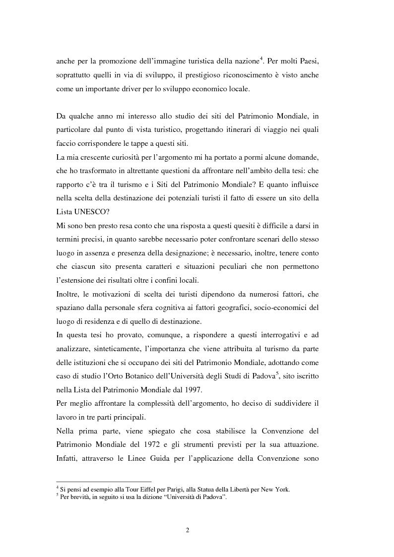 Anteprima della tesi: Il turismo all'Orto Botanico dell'Università di Padova, sito del Patrimonio Mondiale, Pagina 3