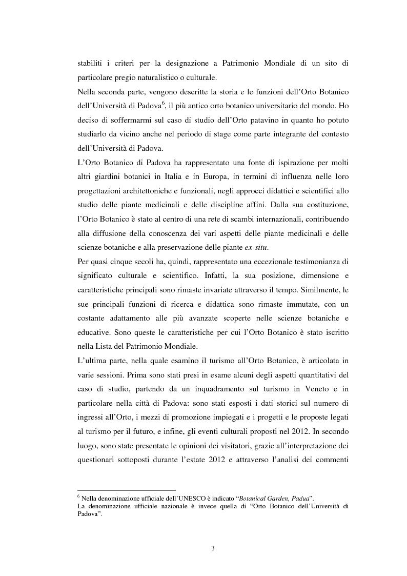 Anteprima della tesi: Il turismo all'Orto Botanico dell'Università di Padova, sito del Patrimonio Mondiale, Pagina 4