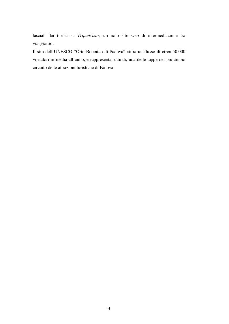 Anteprima della tesi: Il turismo all'Orto Botanico dell'Università di Padova, sito del Patrimonio Mondiale, Pagina 5