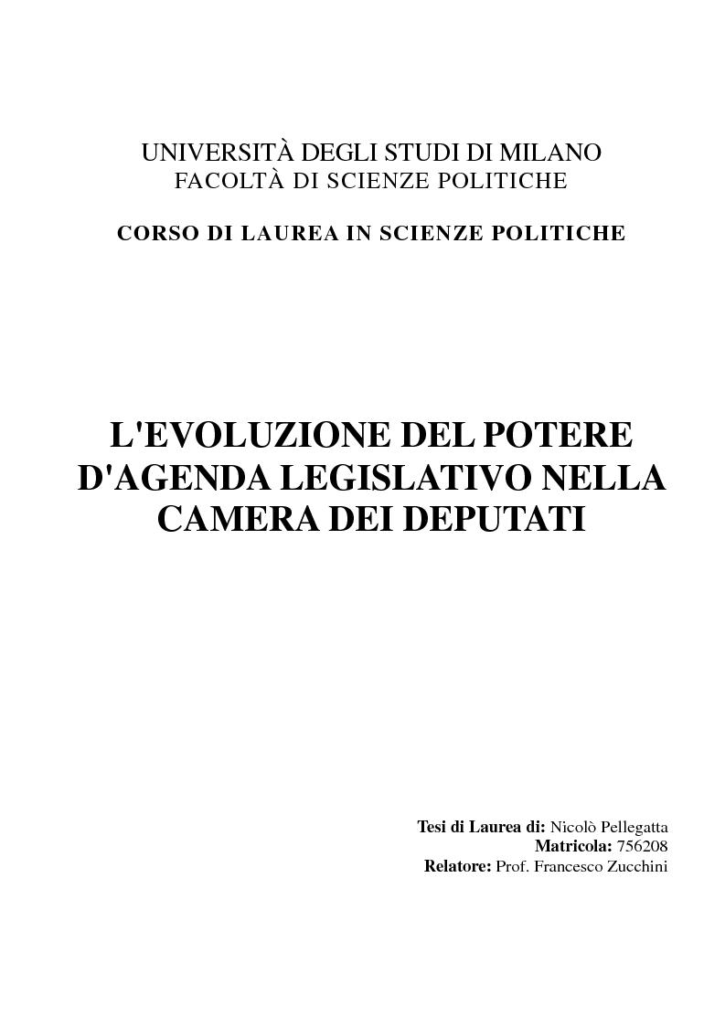 Anteprima della tesi: Evoluzione del Potere d'Agenda legislativo nella Camera dei Deputati, Pagina 1
