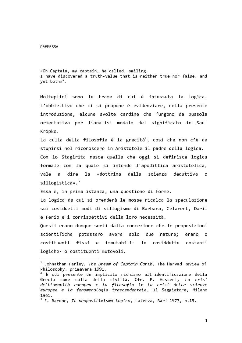 Anteprima della tesi: Saul Kripke: analisi modale del significato, Pagina 2