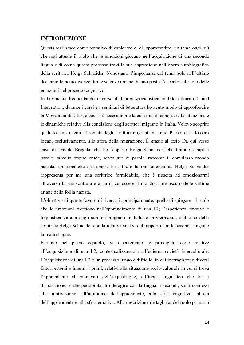 Anteprima della tesi: Il ruolo delle emozioni nell'acquisizione di una seconda lingua: l'abbandono della lingua madre come fuga dal passato nell'opera di Helga Schneider, Pagina 2