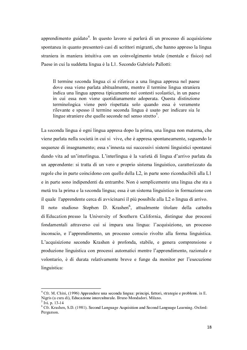 Anteprima della tesi: Il ruolo delle emozioni nell'acquisizione di una seconda lingua: l'abbandono della lingua madre come fuga dal passato nell'opera di Helga Schneider, Pagina 6