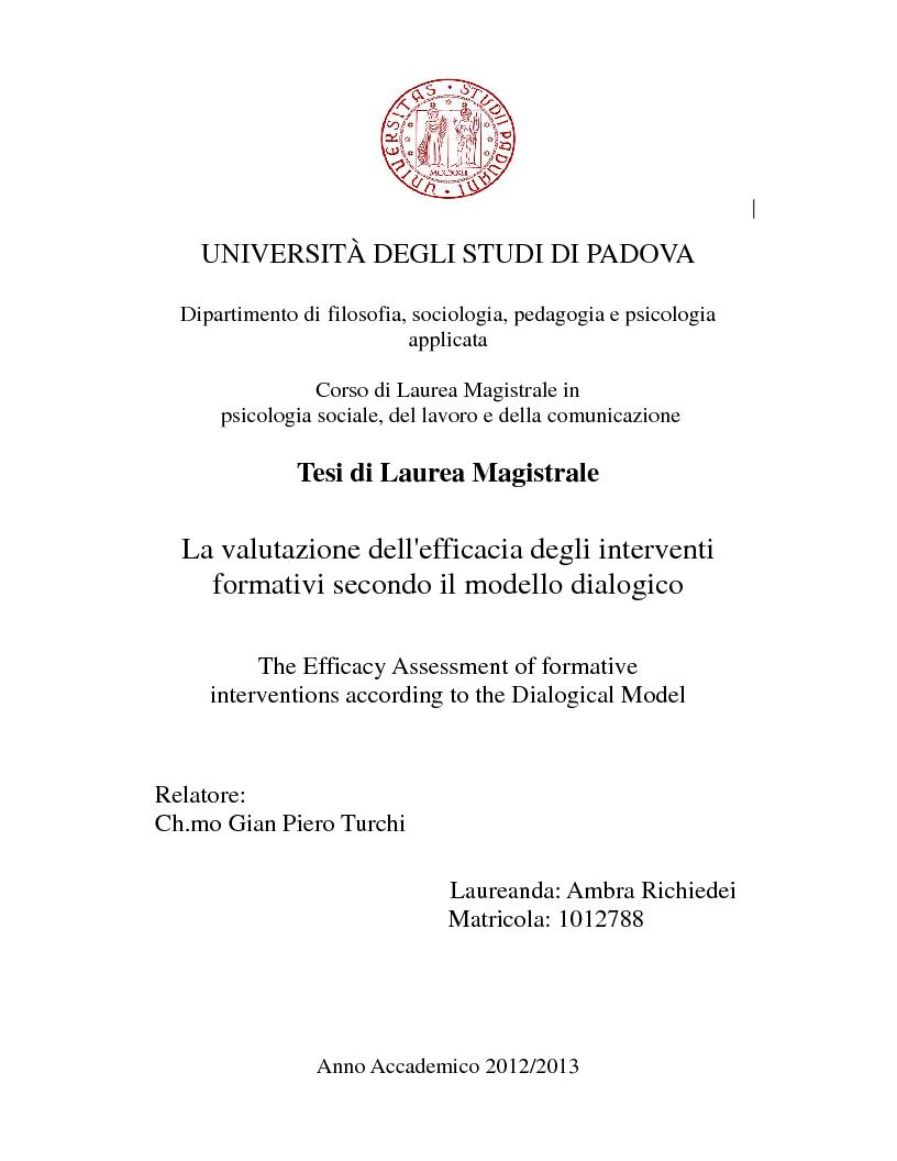 Anteprima della tesi: La valutazione dell'efficacia degli interventi formativi secondo il modello dialogico , Pagina 1