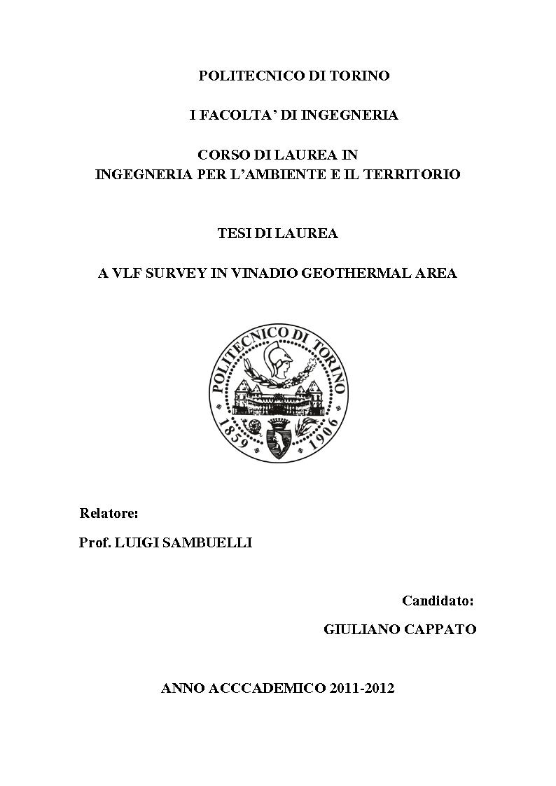Anteprima della tesi: A VLF Survey in Vinadio Geothermal Area, Pagina 1