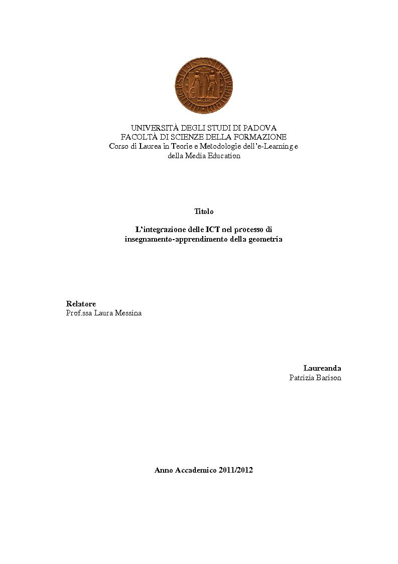 Anteprima della tesi: L'integrazione delle ICT nel processo di insegnamento-apprendimento della geometria, Pagina 1