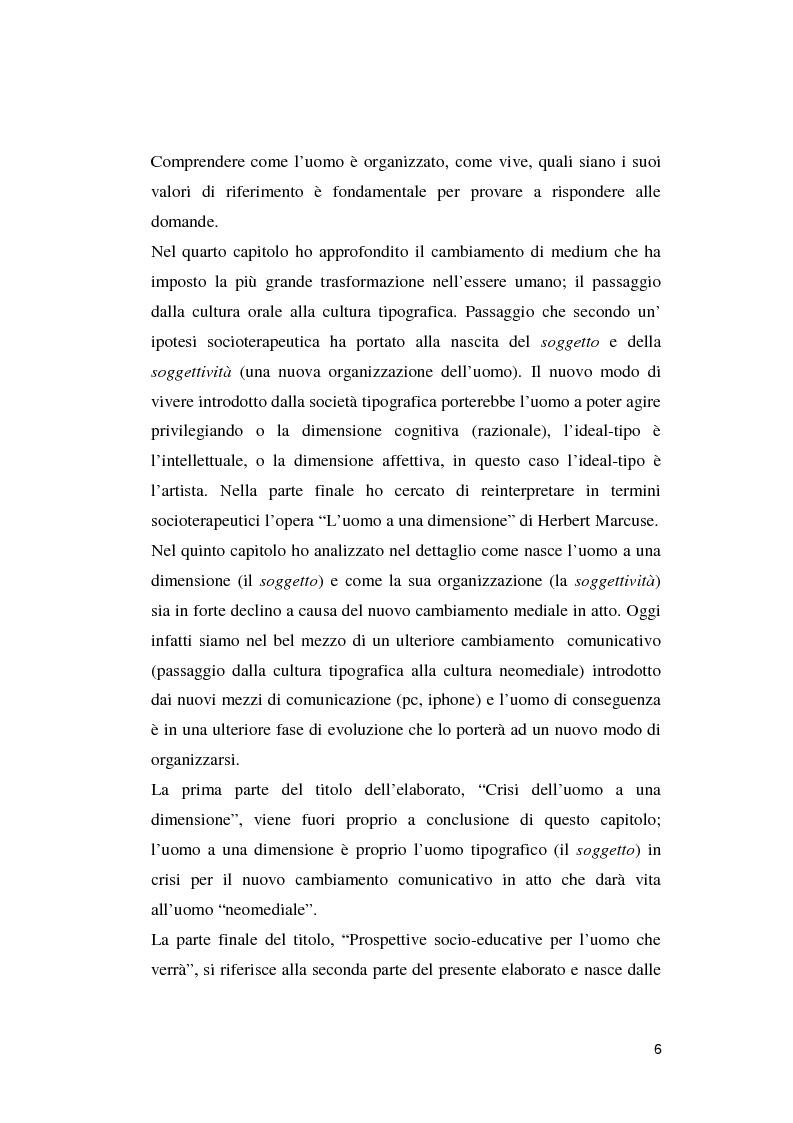 Anteprima della tesi: Crisi dell'uomo a una dimensione: Prospettive educative per l'uomo che verrà, Pagina 5