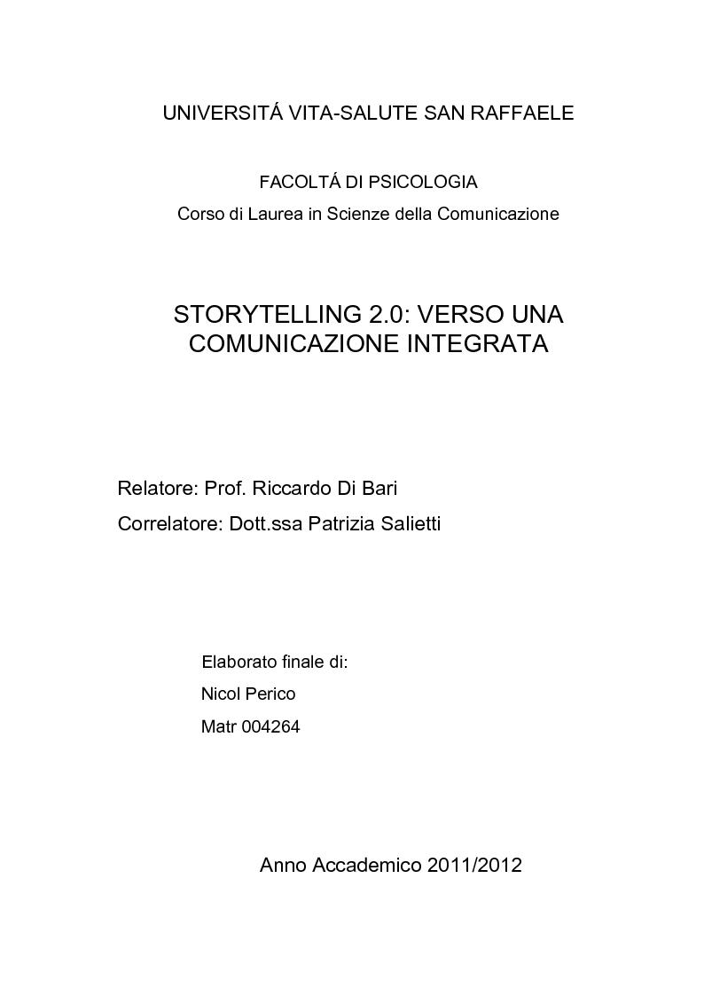 Anteprima della tesi: Storytelling 2.0: verso una comunicazione integrata, Pagina 1