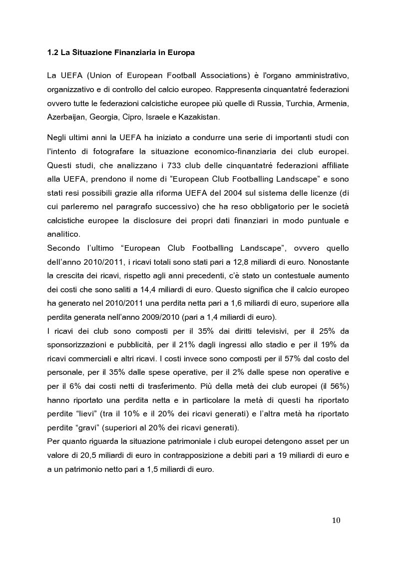 Anteprima della tesi: Il Fair Play Finanziario: normativa per un calcio sostenibile, Pagina 5