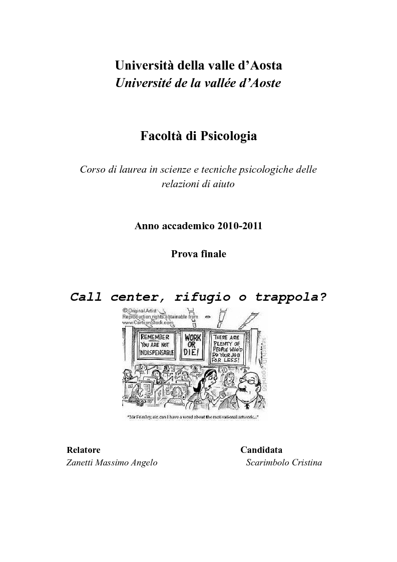 Anteprima della tesi: Call center, rifugio o trappola?, Pagina 1